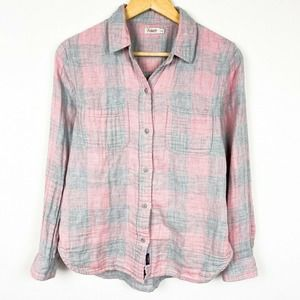 Faherty button front shirt pink blue plaid
